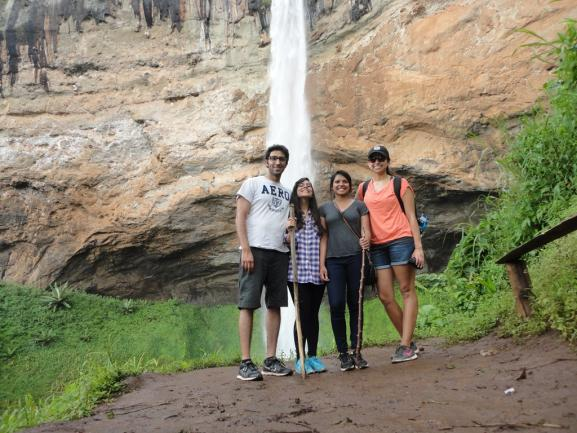 Students posing at Sipi Falls, Uganda