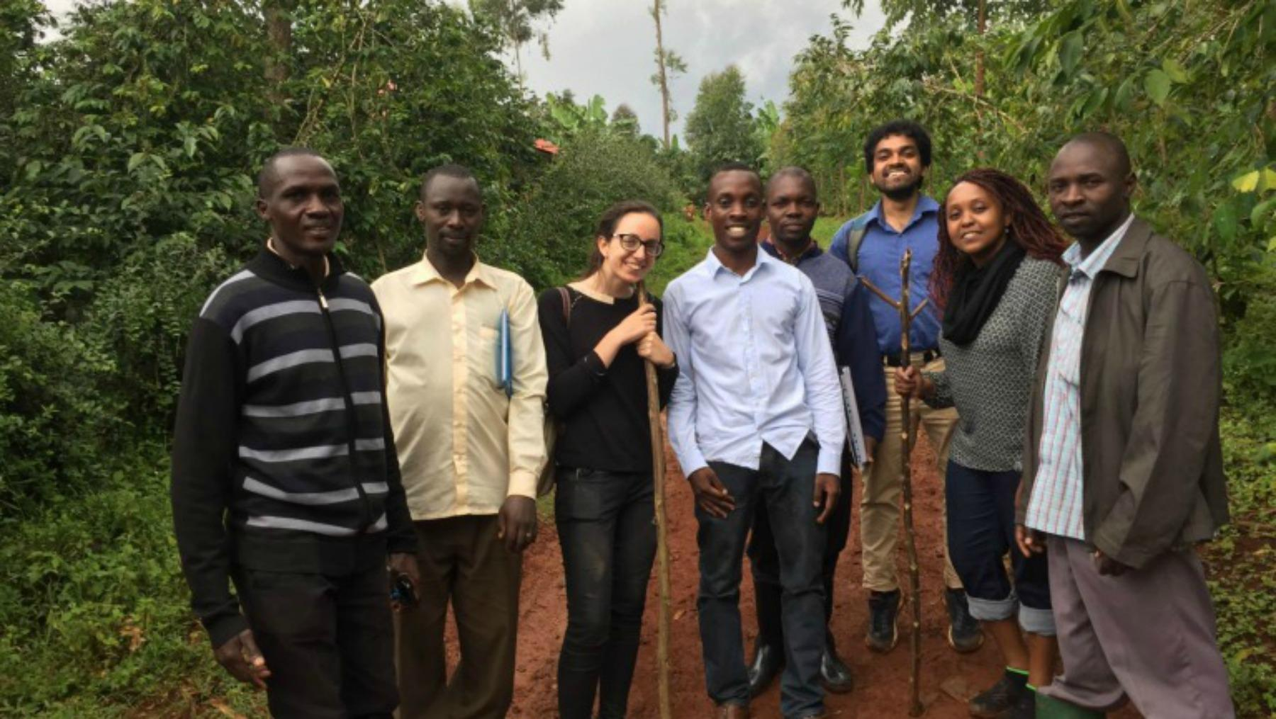 Beatrice and team at a coffee plantation in Uganda