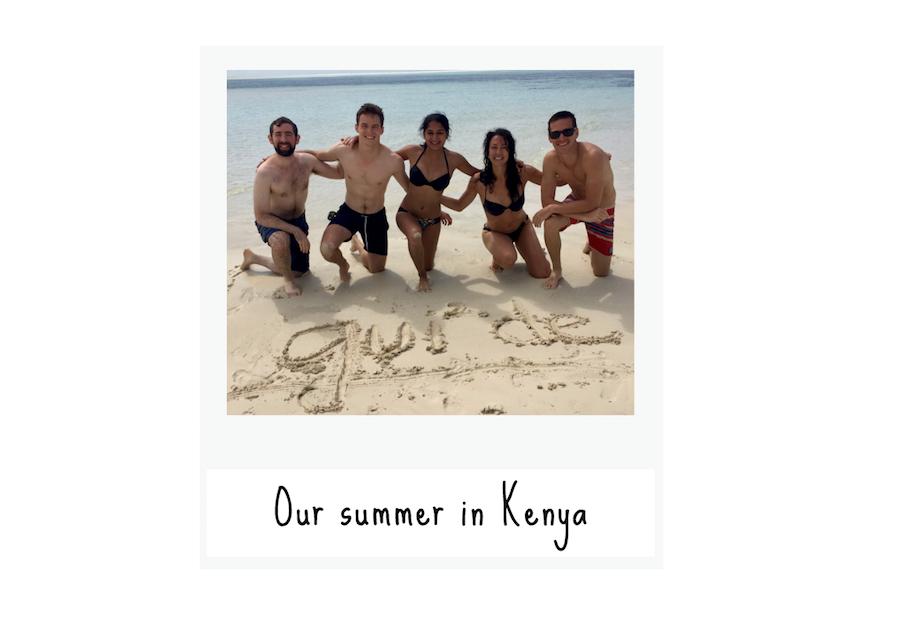 Interns in Kenya on the beach