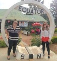 Photo of Kaitlyn Turner at the Equator in Uganda