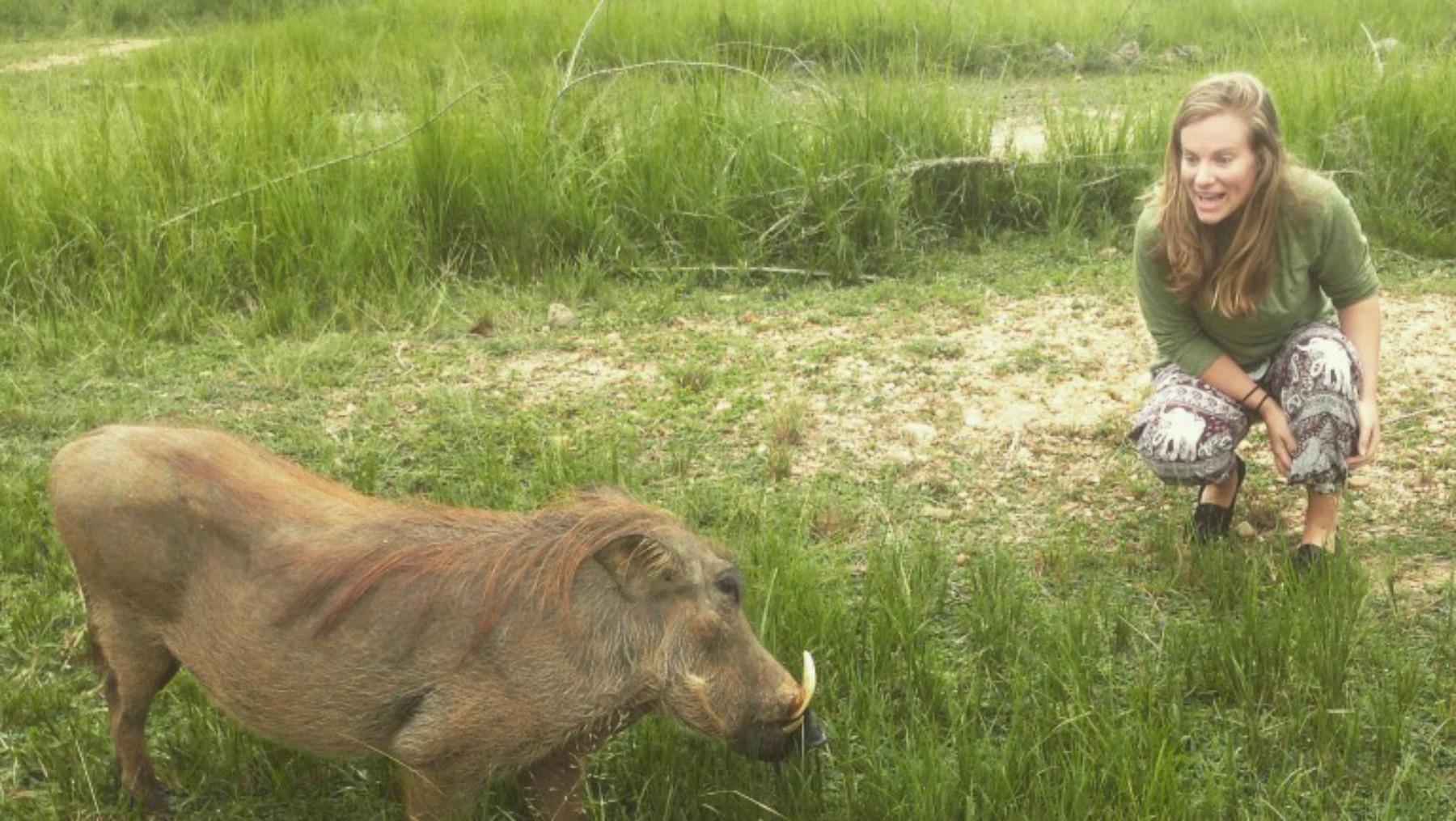 Kaitlyn Turner with wildlife in Uganda