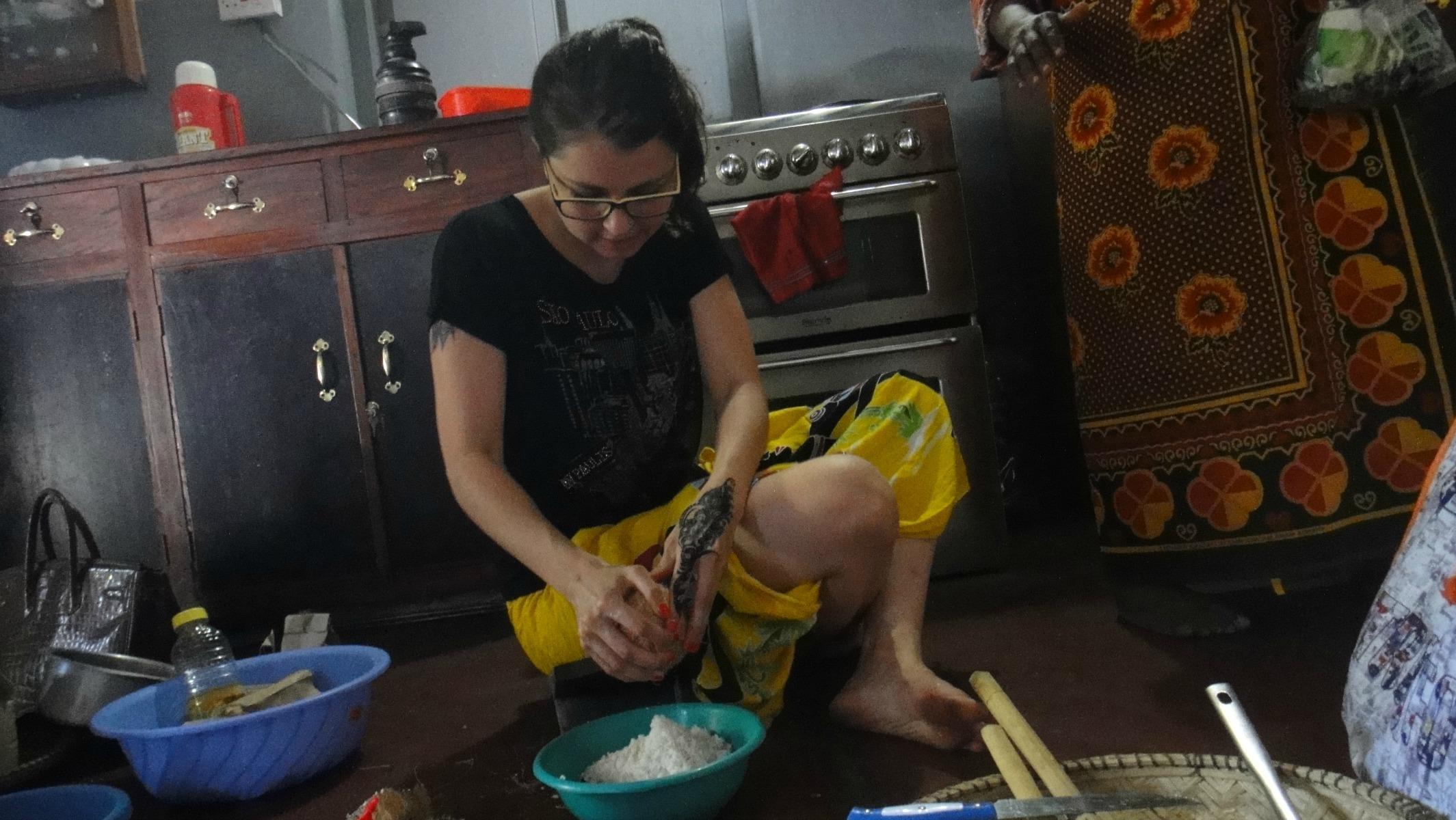 Paula Mian cooking Zanzibari food